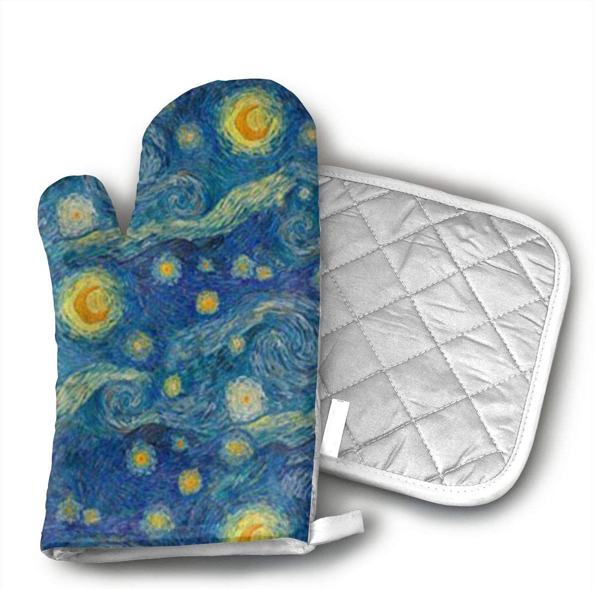 UYRHFS Starry Night Oven Mitts and Pot Holder Kitchen Set with, Heat Resistant, Oven Gloves and Pot Holders 2pcs Set for BBQ Cooking Baking