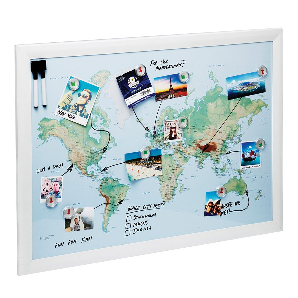 World map pin board amazon world map magnetic whiteboard maps to draw pin and plan your travels 60x80cm gumiabroncs Images