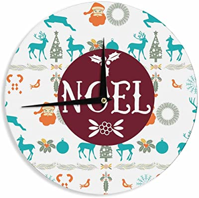 "KESS InHouse FM1085ACL01 Famenxt ""Noel"" Blue White Digital Wall Clock, 12"" Wall Clock"