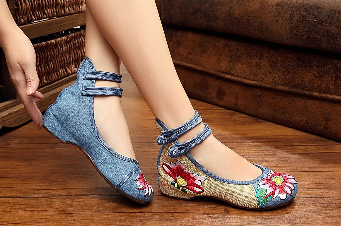 AvaCostume Womens Rubber Sole Floral Embroidered Weave Bride Flats