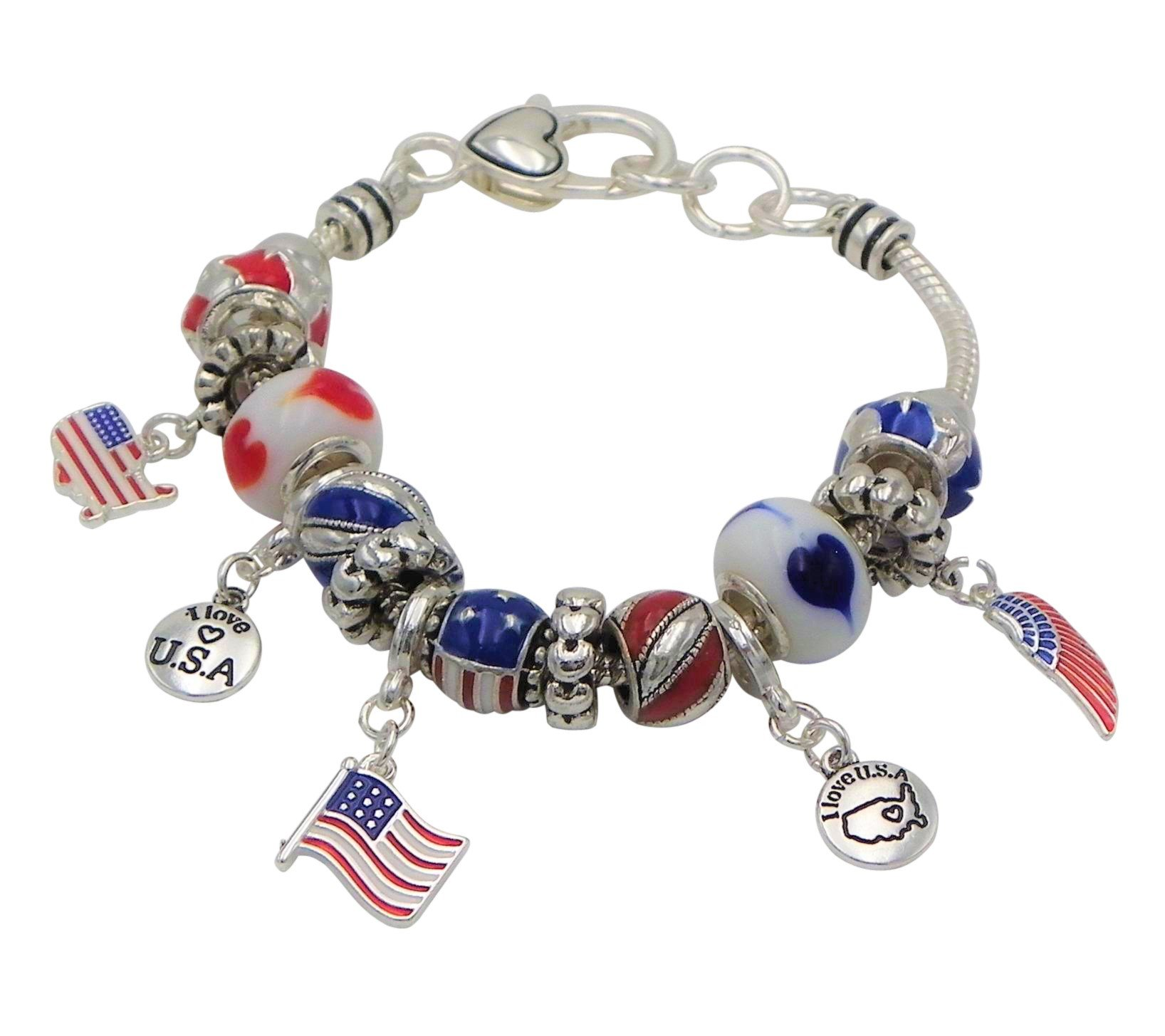 Rosemarie Collections Women's Red White and Blue American Flag Bead Charm Bracelet
