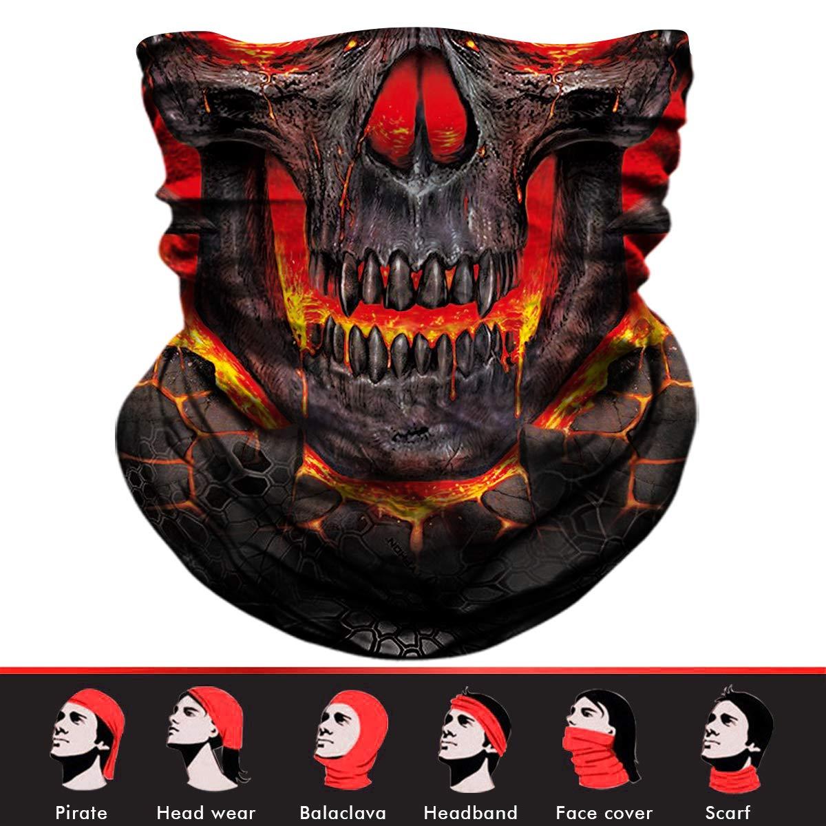 Skull Face Mask, 3D Tube Mask Seamless Durable Face Mask Bandana Skeleton Face Mask for Motorcycle Bike Riding Fishing Hunting Cycling