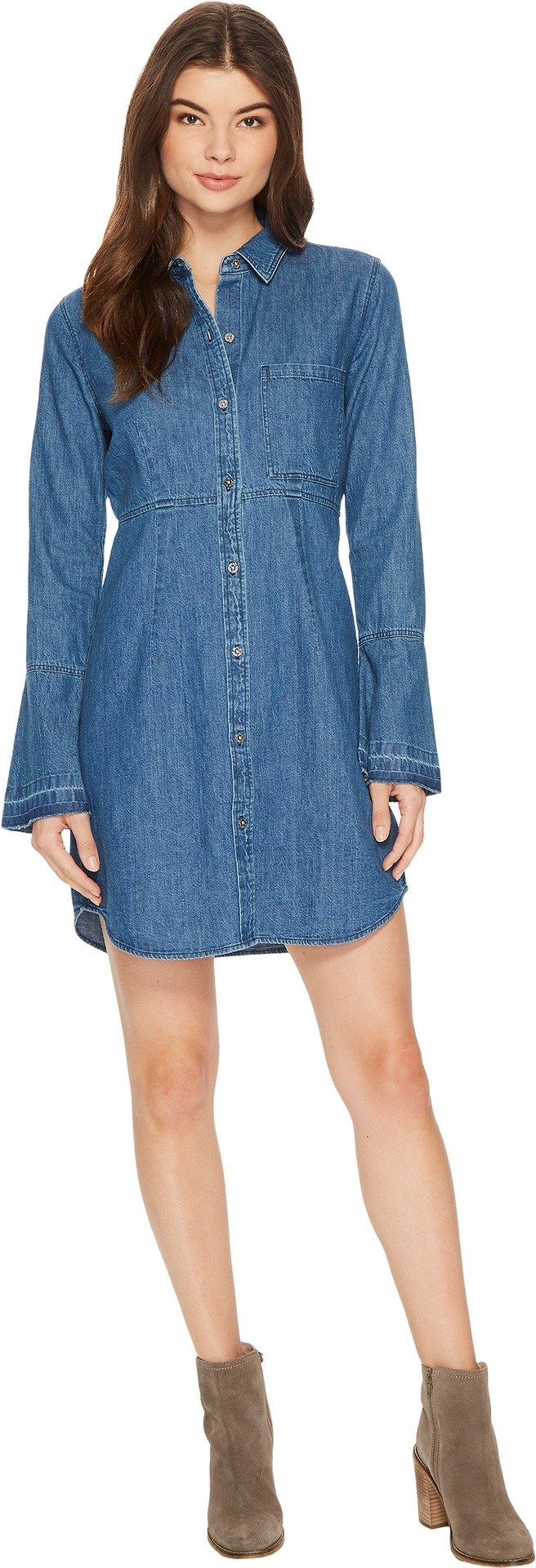 7 For All Mankind Women's Bell Sleeve Denim Shirtdress in Pico Blue Pico Blue Medium