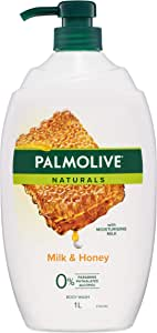 Palmolive Naturals Milk and Honey Body Wash with Moisturising Milk 0% Parabens Recyclable, 1L