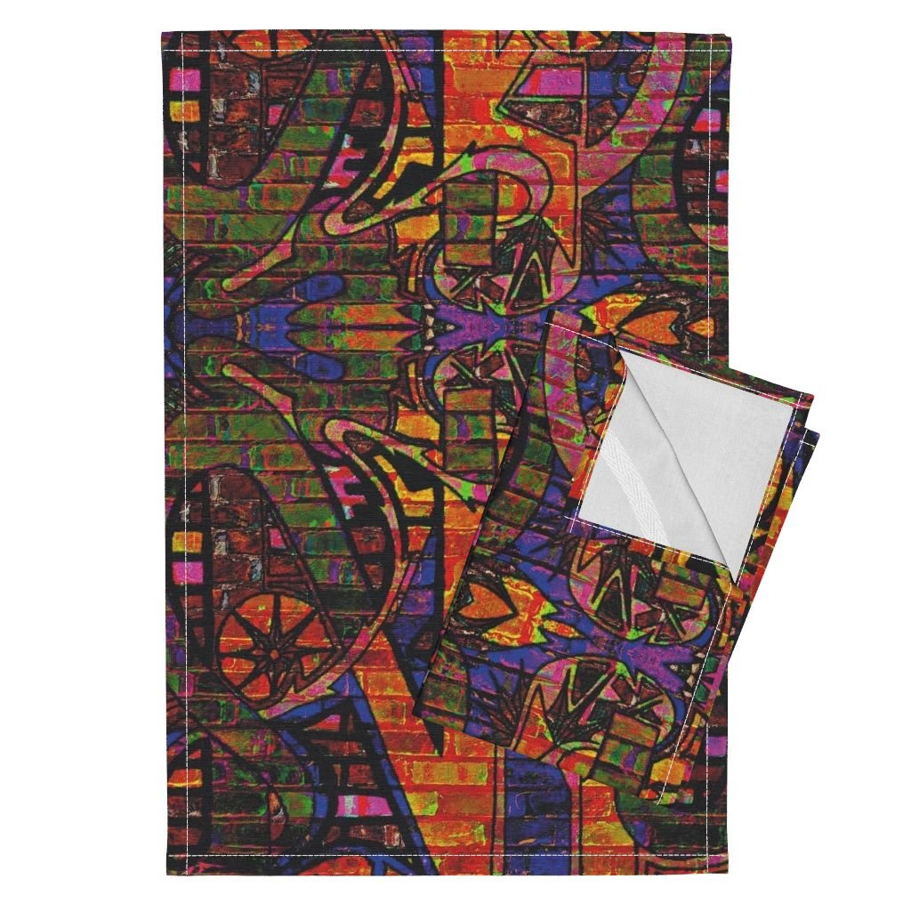 Roostery Graffiti Tea Towels Faux Graffiti Wall by Whimzwhirled Set of 2 Linen Cotton Tea Towels