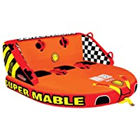SportsStuff Super Mable | 1-3 Rider Towable Tube for Boating, Orange, Red, Yellow