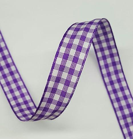 Cinta de cuadros morada y blanca de 1,5 cm, cinta de algodón para venta por rollo/25 yardas: Amazon.es: Juguetes y juegos