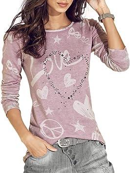 Camisa de Mujer Manga Larga O-Cuello Carta Impreso Algodón Casual Suelto Blusa Tops Camiseta LMMVP: Amazon.es: Deportes y aire libre