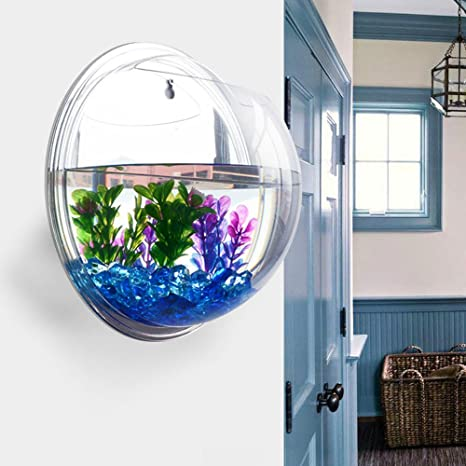 Anself Pecera colgante montado en la pared tanque de peces burbuja tazón de acuario moderno de