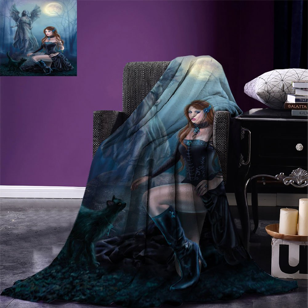smallbeefly Vampire Digital Printing Blanket Fantasy Woman with Black Cat about an Angel Statue Mysterious Woods Gothic Print Summer Quilt Comforter Multicolor