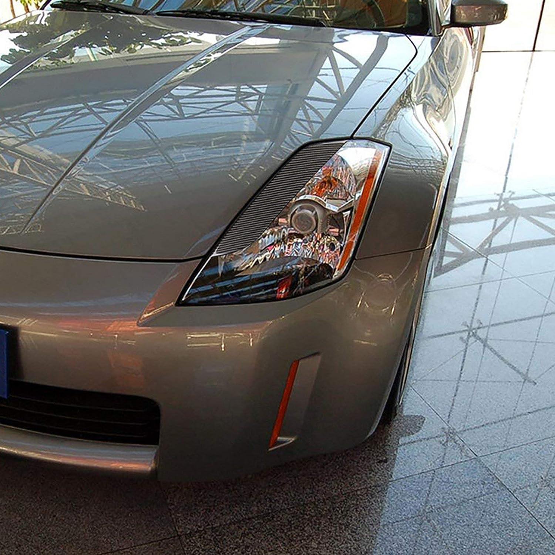 Xotic Tech 2X Real Carbon Fiber Exterior Headlight Eyebrow Eye Lid Molding Protective Decal Trim for Nissan 350Z Z33 Fairlady 2003 2004 2005 2006 2007 2008 2009