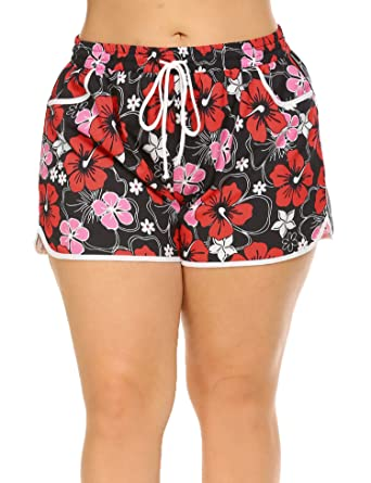 c994196282 IN'VOLAND Women's Plus Size Floral Print Beach Shorts with Pockets-Quick  Dry Summer Swimmwear Shorts at Amazon Women's Clothing store: