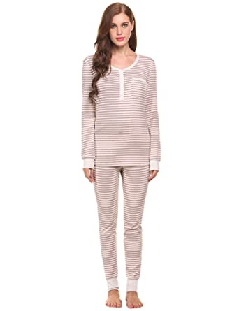 Aimado Fashion Womens Soft Cotton Pullover Thermal Underwear Long Sets (Light Purple, Large)