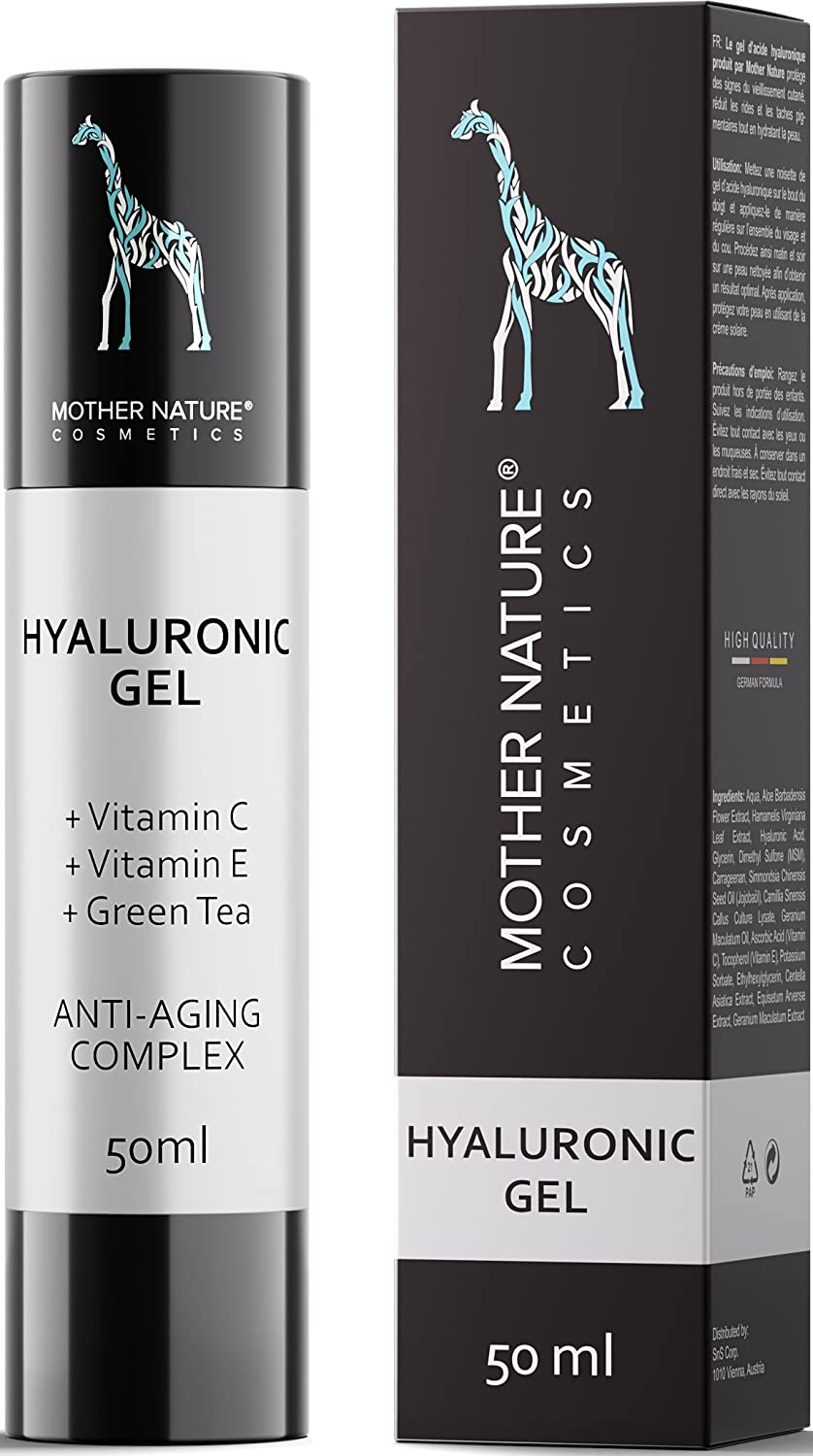 Mother Nature – Hyaluronic Acid Gel | 50ml High-dose | Anti-aging booster for face, neck, body | Includes vitamin C, vitamin E, green tea S&S GesbR