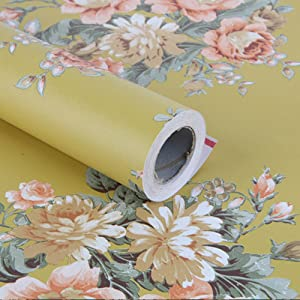 Yifely Dark Yellow Peony Retro Furniture Protective Paper Self-Adhesive Shelf Liner Makeup Case Jewelry Box Cabinet Decor 17.7 Inch by 13 Feet