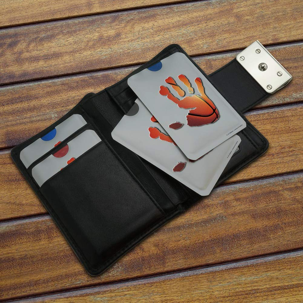 Hand Print Basketball Get a Grip Credit Card RFID Blocker Holder Protector Wallet Purse Sleeves Set of 4