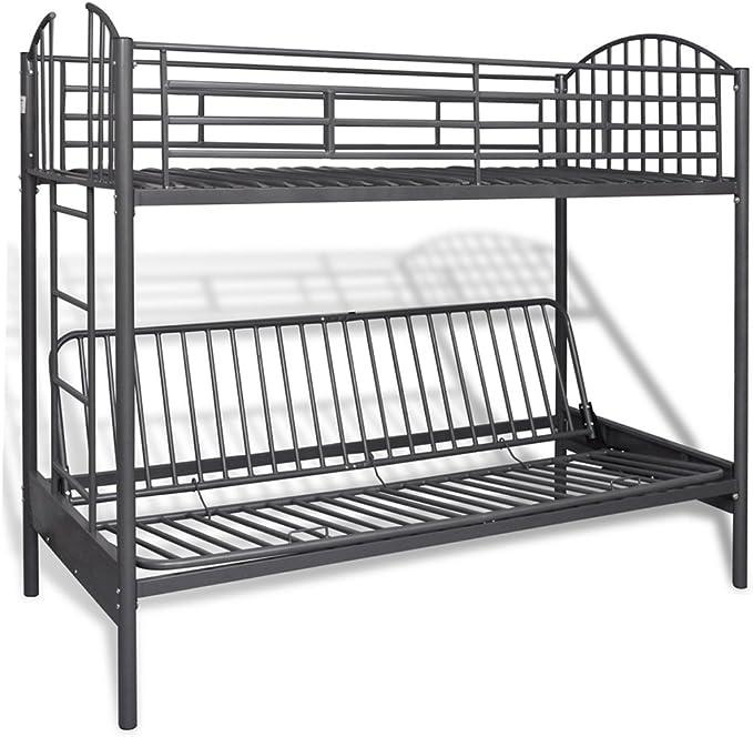Anself Litera Stock cama para niños de hierro con metal somier ...
