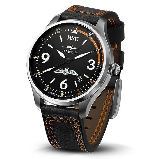 RSC Relojes De Piloto Hombres Análogo De Cuarzo Reloj con Cuero Pulsera Hawk T2 rsc1412: Amazon.es: Relojes