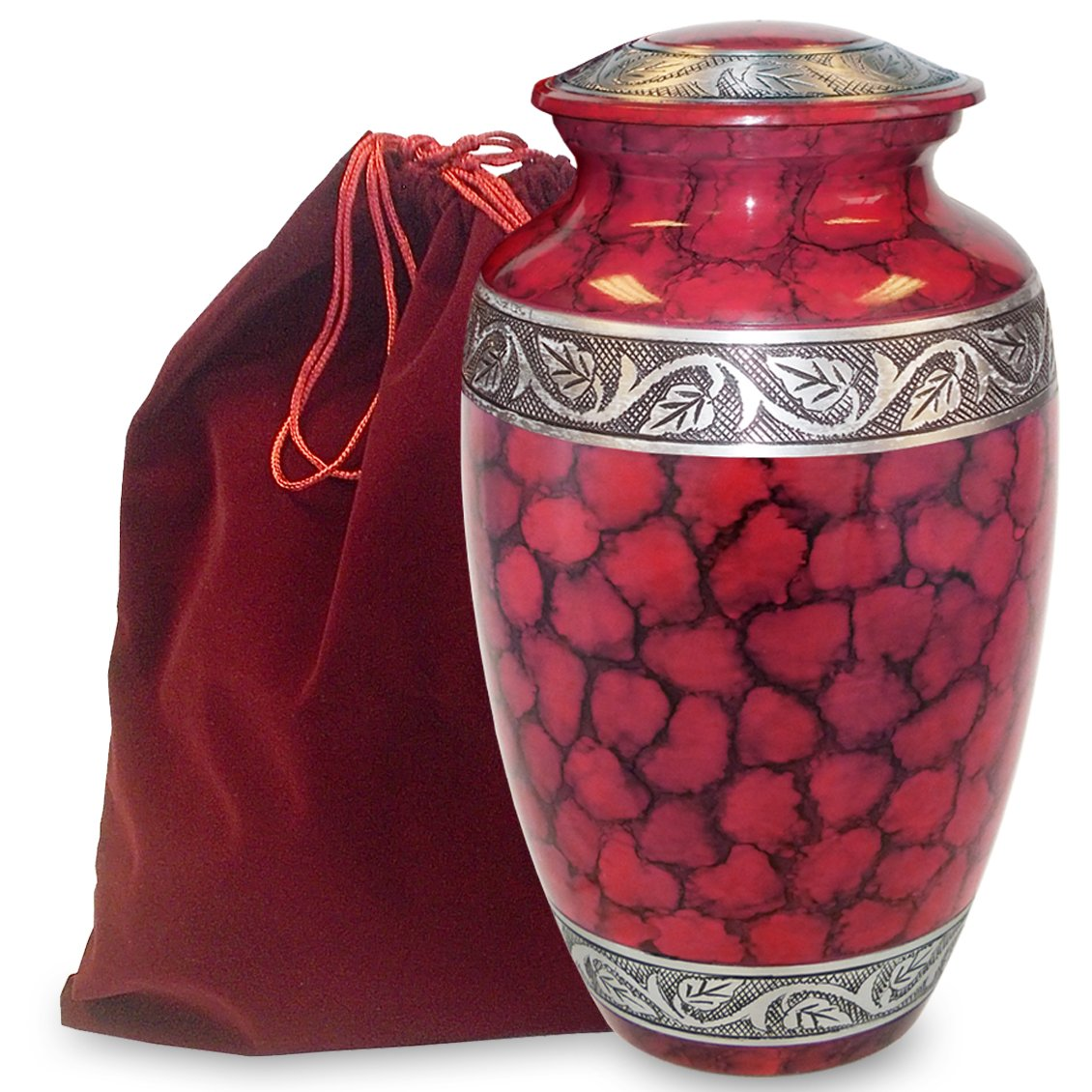 Celebration of Life Red Adult Urn For Human Ashes - Share Your Special Love With This Clasic and Comforting Urn - This Beautiful Urn Makes A Nice Tribute To Your Loved One - Includes Velvet Bag