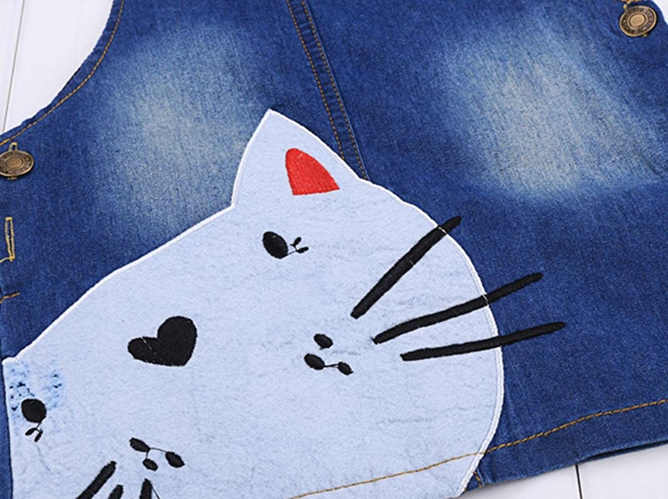 Lantusi Girls One-Piece Cat Jean Overall Denim Jumper Suspender Skirt Pinafore Dress Age 2-9