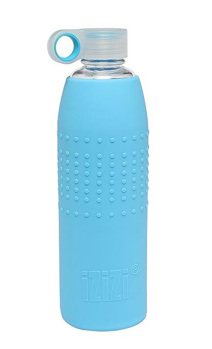 73146afcc4 Izizi Glass Bottle with Silicone Sleeve, 1 liter/9 cm, Blue: Amazon ...