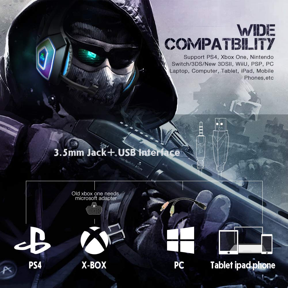 Gaming Headset with Mic for Xbox One PS4 PC Switch Tablet Smartphone,  Headphones Stereo Over Ear Bass 3 5mm Microphone Noise Canceling 7 LED  Light