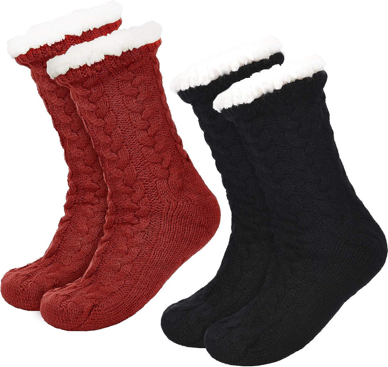 Boao 2 Paires Chaussettes Slipper Chaud pour Femme Chaussettes Fuzzy de No/ël Doubl/é en Molleton Chaussettes Slipper Antid/érapantes