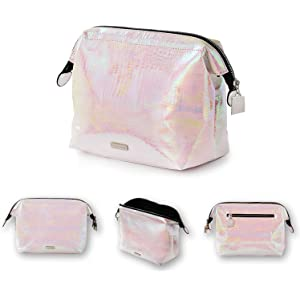 4abad488cc64 Holographic makeup bag Cosmetic Shiny Rainbow pouch Portable Handle bag  Colorful Laser Iridescent pouch Waterproof Cosmetic