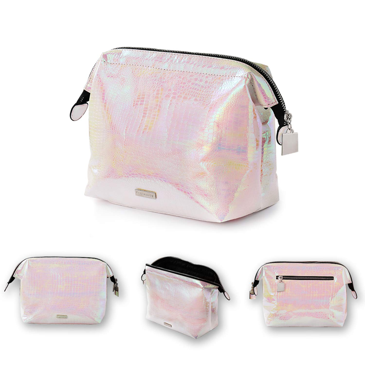 4a8c013a64 Amazon.com  Holographic makeup bag Cosmetic Shiny Rainbow pouch Portable  Handle bag Colorful Laser Iridescent pouch Waterproof Cosmetic large Makeup  Case ...