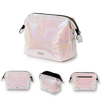 71f153bac6 Holographic makeup bag Cosmetic Shiny Rainbow pouch Portable Handle bag  Colorful Laser Iridescent pouch Waterproof Cosmetic