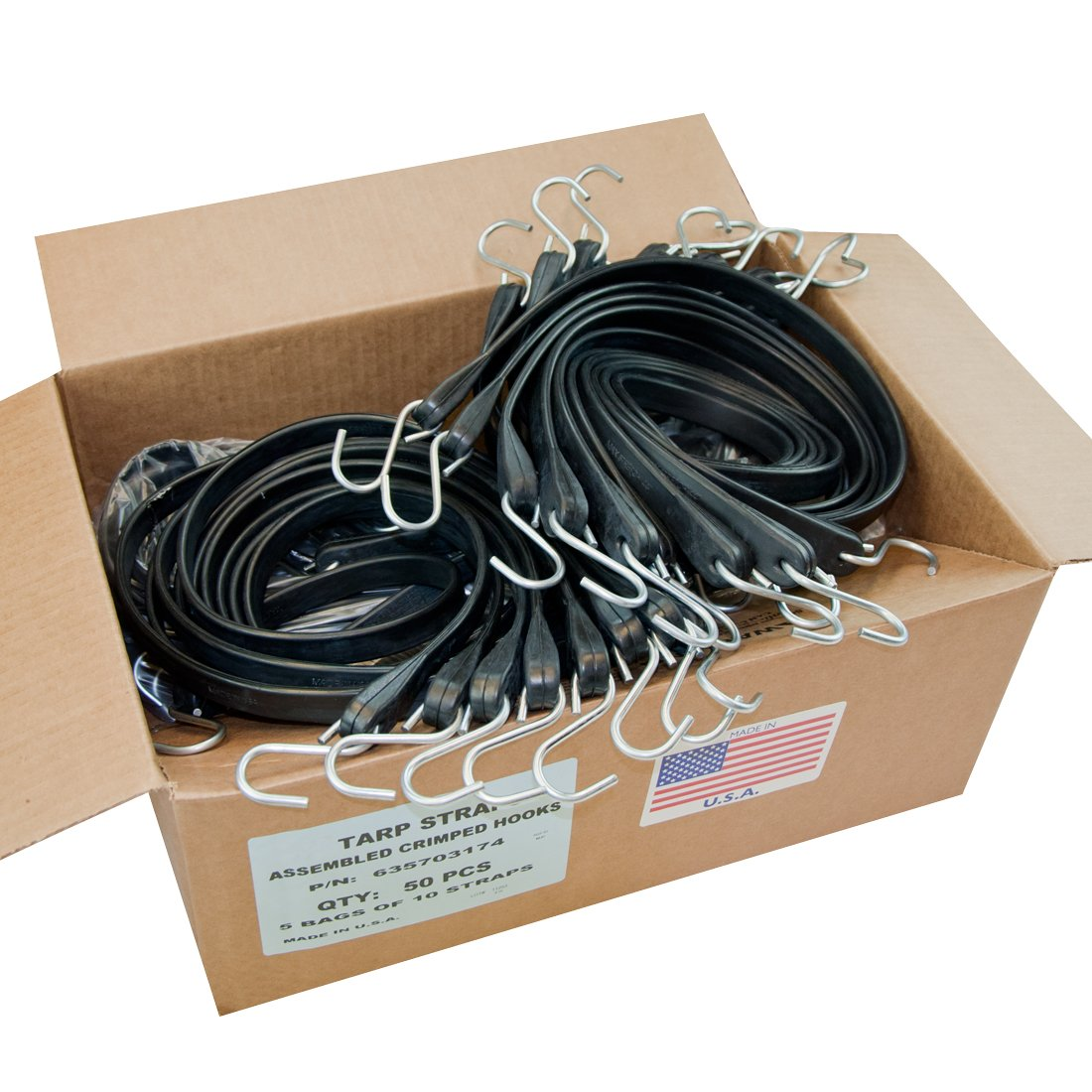 Universal Polymers 10'' USA Tarp Straps with Crimped Hooks (Box of 50) by Universal Polymers