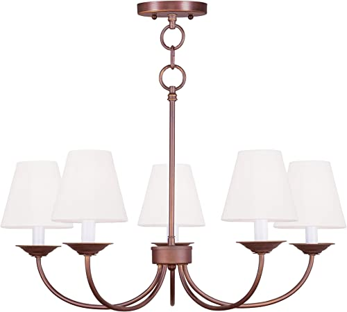 Livex Lighting 5275-70 Mendham 5-Light Convertible Chain Hang Chandelier Ceiling Mount, 25 x 17 , Vintage Bronze