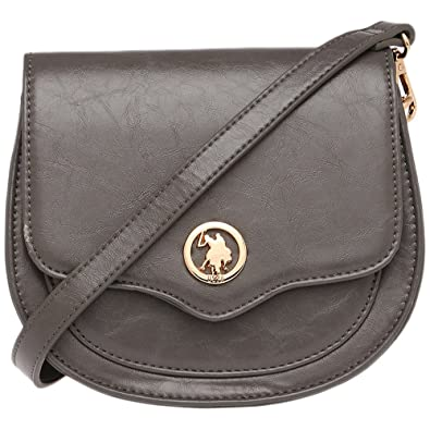 U.S. Polo Assn. Womens Snap Closure Sling Bag Grey  Amazon.in  Shoes ... dadf4532a5