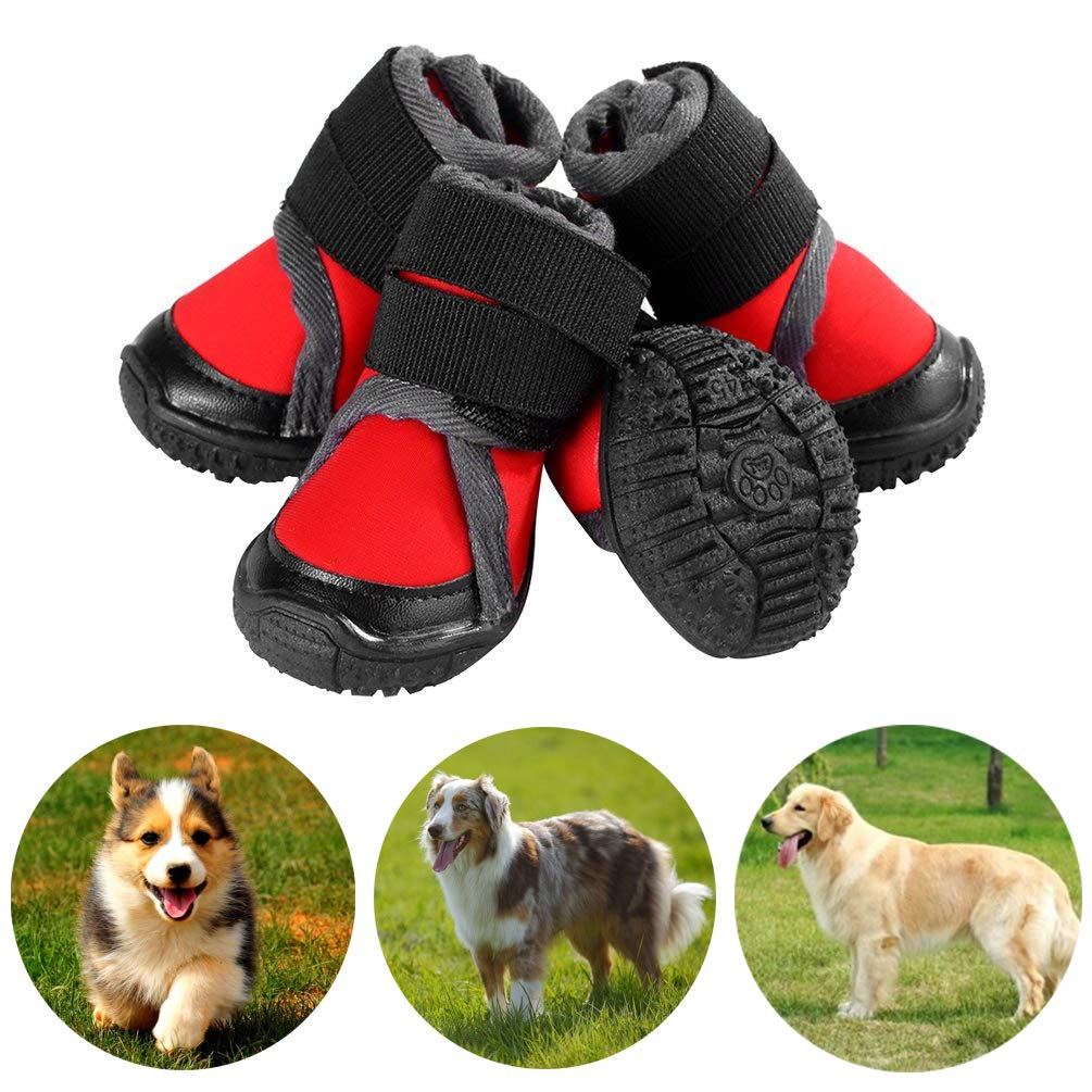 Petilleur Breathable Dog Hiking Shoes for Hot, Ice & Sharp Pavement Pet Paws Protector Anti-Skid Dog Boots Durable Pet Sneakers for Outdoor Activities (Red, XXL)