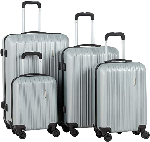 Murtisol Travel 4 Pieces ABS Luggage Sets Hardside Spinner Lightweight Durable Spinner Suitcase 16 20 24 28 , 4PCS Silver