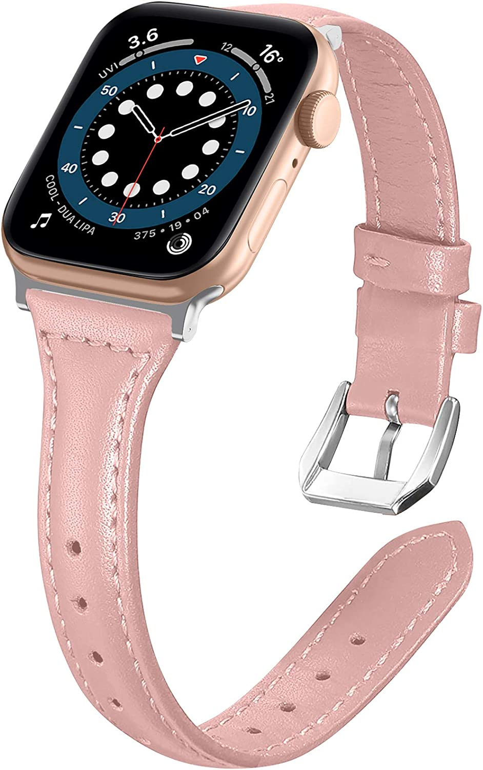 Liwin Leather Band Compatible with Apple Watch SE Series 6 Band 44mm 42mm 40mm 38mm, Genuine Slim Leather Replacement Wristbands Bracelet Classic Strap for iWatch SE 6/5/4/3/2/1(Rose Pink, 38/40mm)