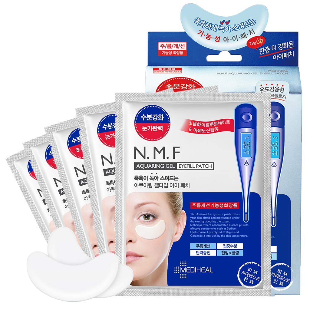 MEDIHEAL N.M.F Aquaring Gel Eyefill Patch 5 Pouch - Anti Wrinkle Under Eye Care Patches, NMF and Marine Collagen, Ceramide Intensive Moisturizing and Elasticity Eye Sheet Mask