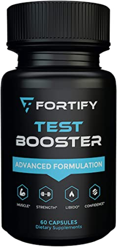Fortify Supplements – Test Booster Advanced Formulation 60 Caps Clinically Dosed Testosterone Booster for Men Male Size Enhancement Workout Muscular Pills for Stamina, Endurance Strength