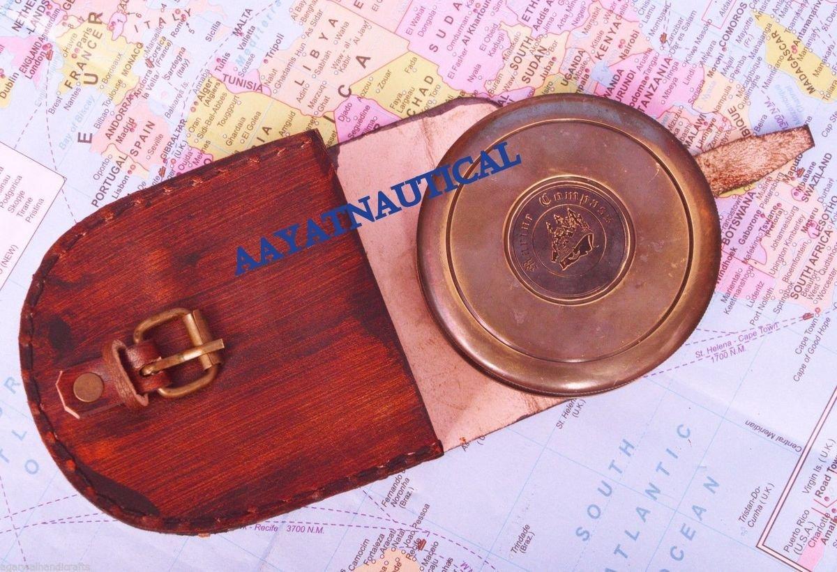 美しいNautical真鍮詩ロバートフロスト詩Engraved Compassソリッド真鍮 B073VGHC84