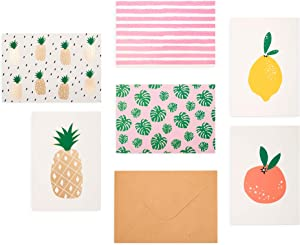 "Outshine 48 Blank Greeting Note Cards with Envelopes in Cute Storage Box (6 Designs) | Bulk All Occasion Notecards | 3.5"" x 5"" Cards for Thank You Notes, Business (48ct Fruit)"