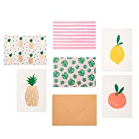 """Outshine 48 Blank Greeting Note Cards with Envelopes in Cute Storage Box (6 Designs)   Bulk All Occasion Notecards   3.5"""" x 5"""" Cards for Thank You Notes, Business (48ct Fruit)"""