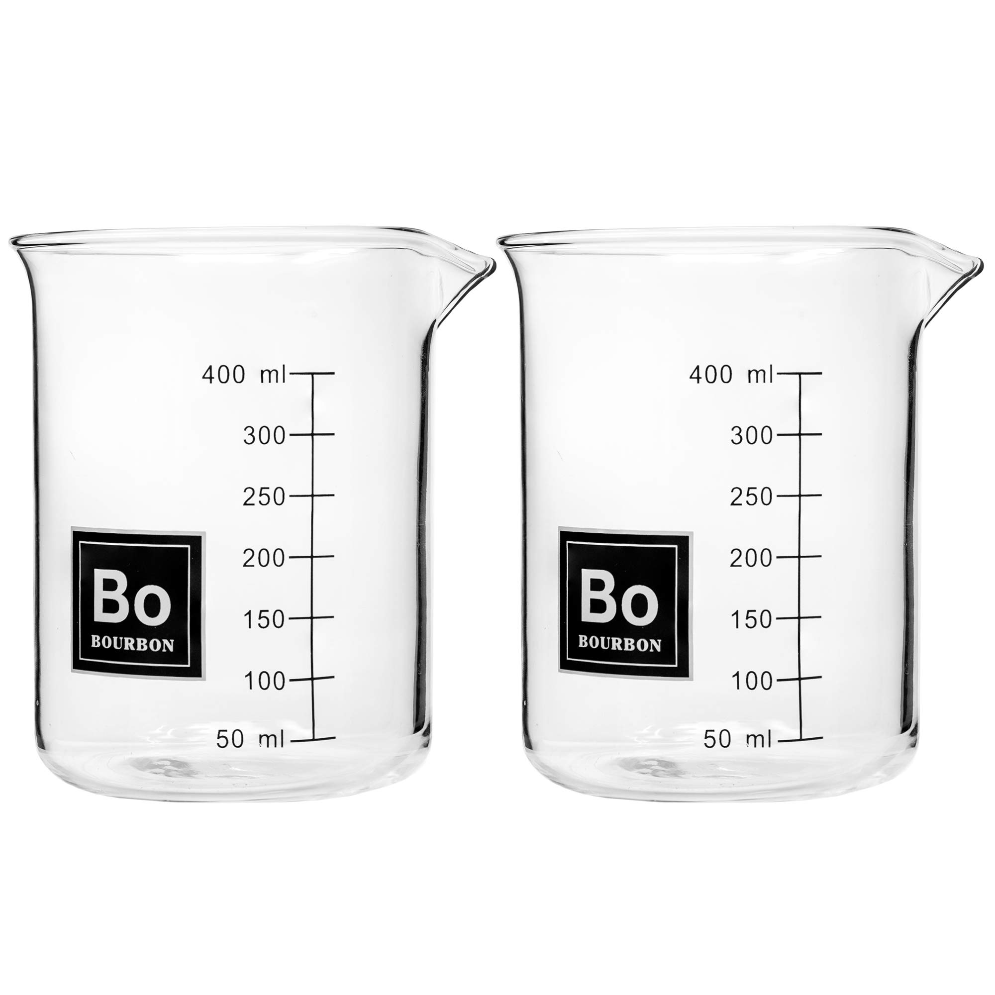 Drink Periodically Set of 2 Laboratory Beaker Bourbon Rocks Glasses-16oz each