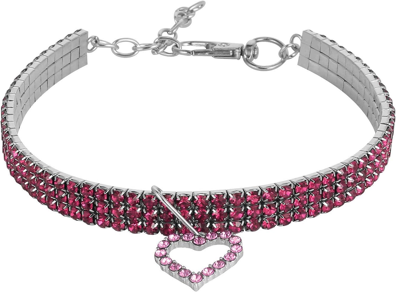 AKlamater Collar para mascotas, collar de diamantes de imitación de cristal con colgante de corazón para gato y perro pequeño (rosa)