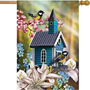 Briarwood Lane Peaceful Birdhouse Spring House Flag Floral Chickadees 28