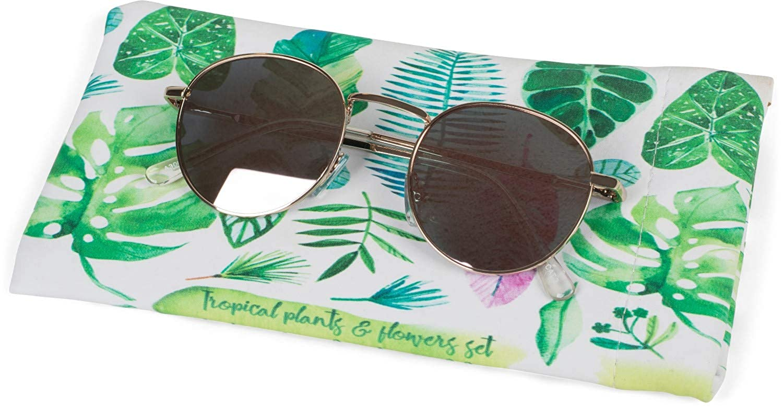 Brillenetui mit Schnappverschluss styleBREAKER Etui f/ür Sonnenbrillen mit Palmen Bl/ätter Print und Putztuch Unisex 09020101