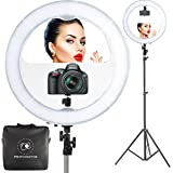 """18"""" LED Video Ring Light with Mirror, 6ft Stand Tripod, Adjustable Heavy Duty Mount for DSLR, iPhone & Android Smartphones - Professional Studio Photography Dimmable Lighting Kit for Makeup & Youtube"""