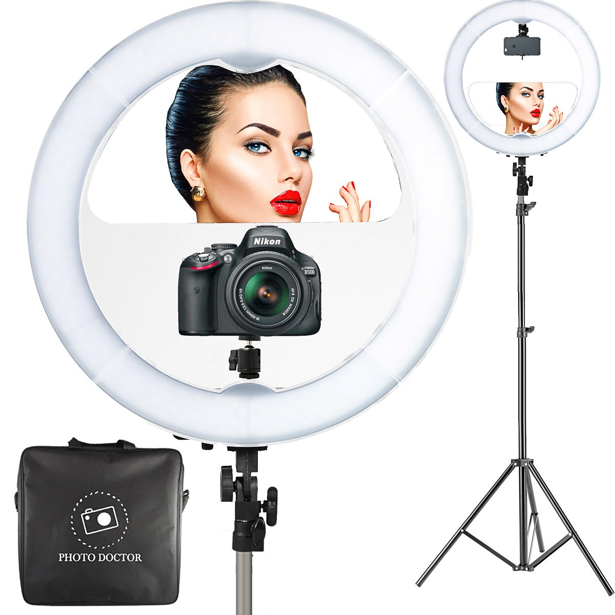 18'' LED Video Ring Light with Mirror, 6ft Stand Tripod, Adjustable Heavy Duty Mount for DSLR, iPhone & Android Smartphones - Professional Studio Photography Dimmable Lighting Kit for Makeup & Youtube