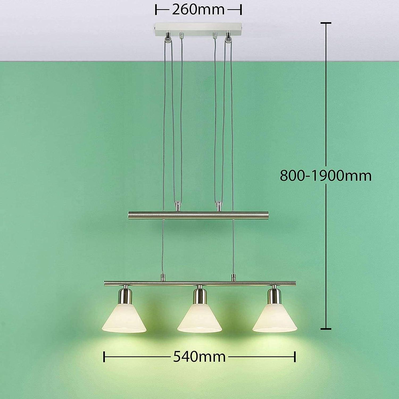 3.000K Lindby LED H/ängelampe 3 flammig h/öhenverstellbar Balkenpendelleuchte Esstisch Pendelleuchte inkl |H/ängeleuchte Glas Metall Easydim LED Leuchtmittel A+ warmwei/ß dimmbaren