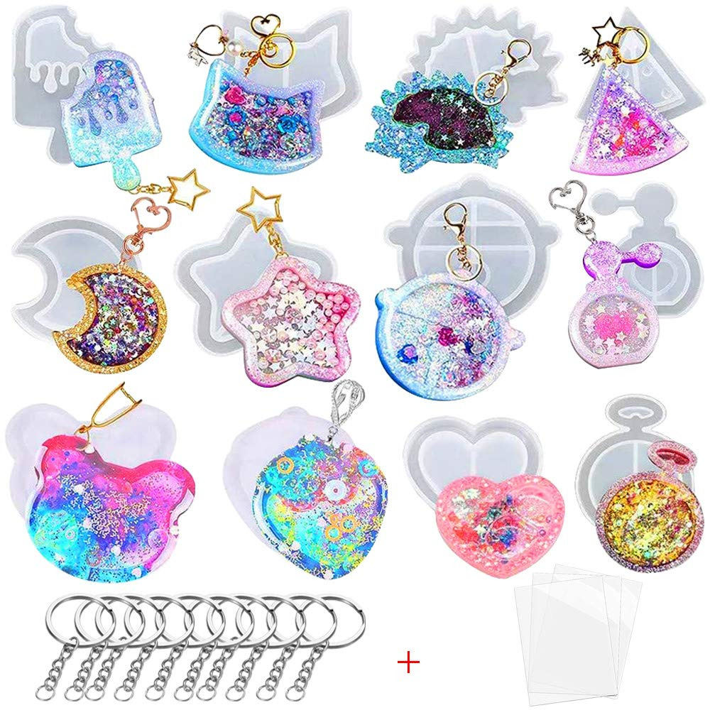 12Pcs Quicksand Resin Moulds Silicone Hollow Shaker Mould Keyring Crystal Pendant Jewelry Making Molds with 3 Seal Films and 10 Keyring for Handmade DIY Epoxy Casting Craft Set