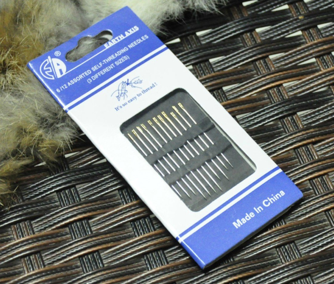 Self-threading Needles 120 Pack Assorted Sizes Thread Sewing Stitching Pins